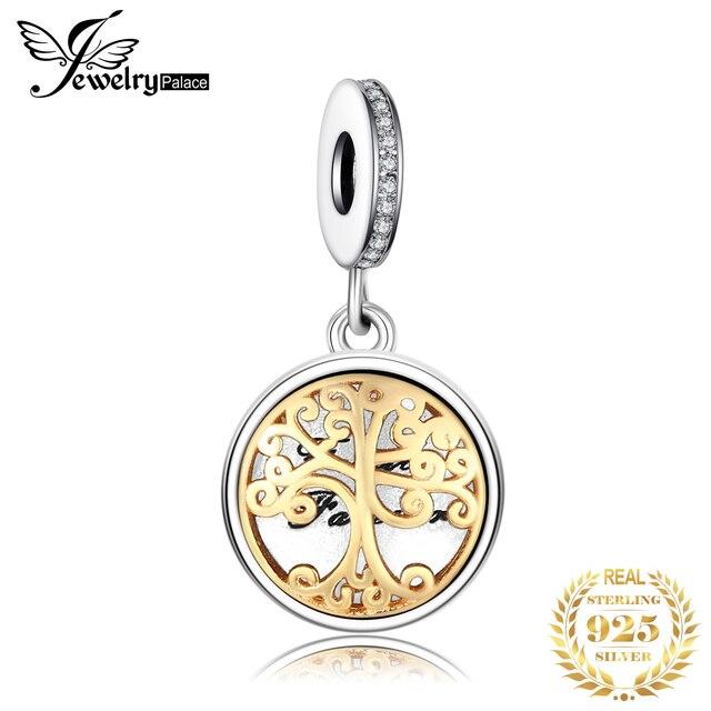Jewelrypalace Bạc 925 Khung Ảnh Mặt Dây Chuyền Hạt Charms phù hợp với Vòng Tay Vàng Họ Cây Thời Trang TỰ LÀM Trang Sức dành cho Nữ