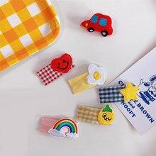 1 pezzo Del Fumetto Per Bambini di clip A Scatto di Capelli Pinze Del Bambino Delle Ragazze del Plaid Tessuto di Stile della Scuola Dolce Dei Capelli Spilli Barrettes Copricapi Accessori Per Capelli
