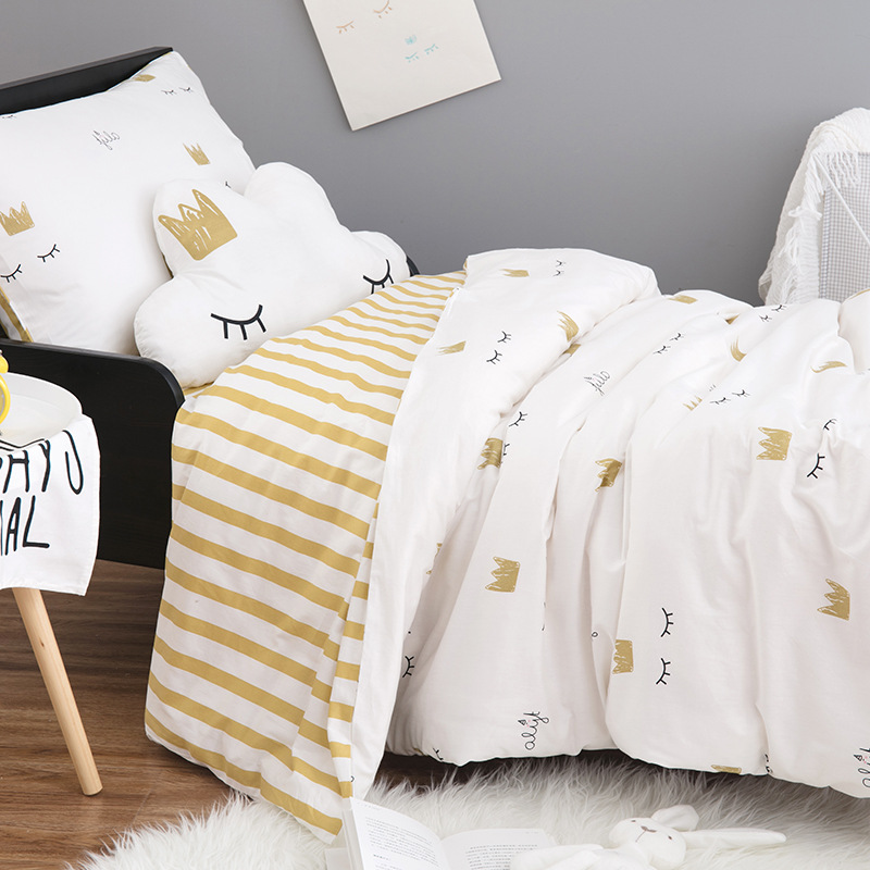 INS eyelash and crown / Cycling Bear baby bedding set children 3 pcs set baby cot cotton bedding sheets pillowcase duvet cover