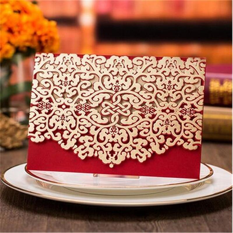 웨딩 장식에 대 한 10pcs 낭만적 인 레이스 잘라 빈티지 결혼식 초대 카드 레드와 골드 결혼식 초대장