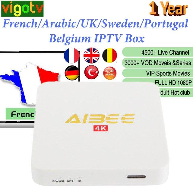 1 an Vigotv avec Android 7.1 Smart IPTV Box 4500 Live Europe français italie UK allemand arabe belgique suède pologne IPTV M3u