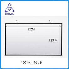 Thinyou High Definition 100 inch 16:9 Clear 3D Wall Mounted Projector screen for Home Cinema Movies Business meeting