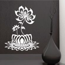 Home Decor Removable Lotus Flower Design Wall Decal Beautiful Bedroom Decor Vinyl Buddhism Wall Stickers Home Art Mural AY521 extra thick classical flower design home decor vinyl wallpapers