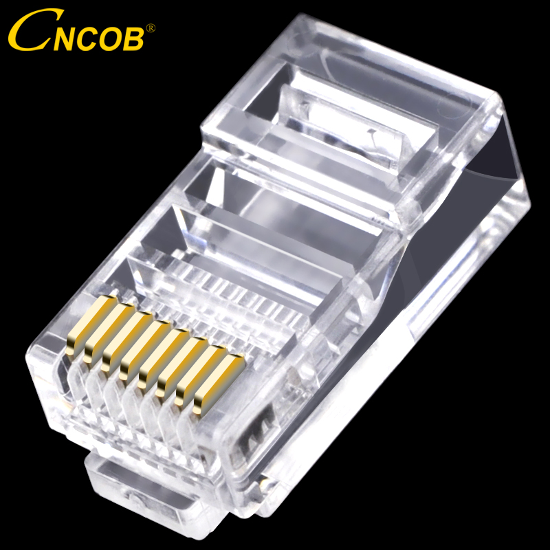CNCOB Ethernet rj45 Connector Computer Network Connector Crimp Modular Plug cat5e 8p8c Unshielded utp Network Cable Crystal Head imc hot 10 pcs rj45 8p8c double ports female plug telephone connector