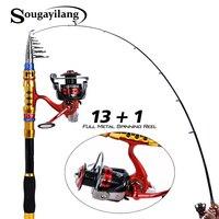 Sougayilang Spinning Telescopic Fishing Rod Set And Carp Fishing Reel 1.8m 3.3m Carbon Fishing Pole Sea Casting Fishing Rods