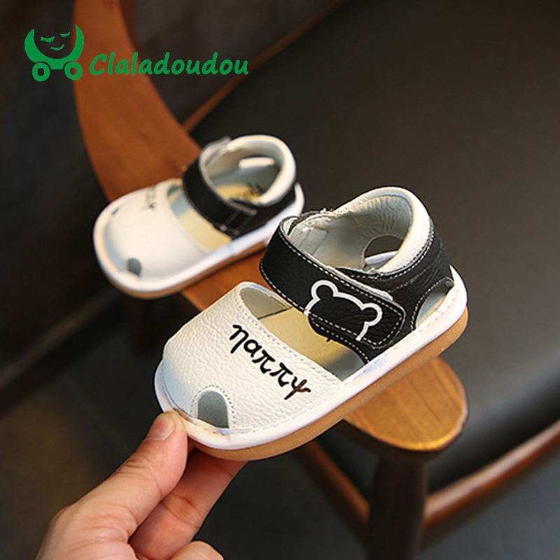 Claladoudou 11.5-13.5CM Baby Boys Girls First Walkers Infant Pink Soft Make Noise Toddler Shoes Cute Cartoon Party Dress Shoes ...