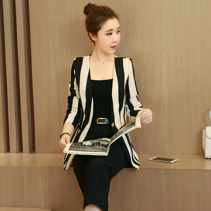 New 2017 summer fashion striped one-button blazer and knee-length blazer suit pants women slim fit full suits trouser suit TXF1