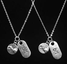 Vintage Silver Pinky Promise BFF Necklaces Pendant Charms Statement Choker Necklaces Women Jewelry Accessories DIY Gifts B399