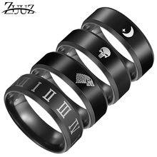 f72ae930e71b ZUUZ anillo de los hombres de acero inoxidable accesorios de la joyería de  joyas y bisutería punk anillos para hombre negro dedo.