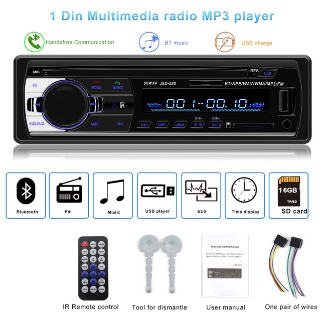 Autoradio JSD-520 オートステレオ 1 Din カーラジオ 12 v bluetooth V2.0 FM Aux 入力レシーバカーオーディオ SD USB MP3 MMC WMA jsd 520