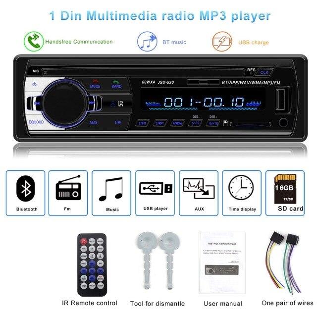 Autoradio JSD-520 1 Din Rádio Do Carro auto Estéreo 12 v V2.0 FM do bluetooth Receptor de Áudio Do Carro de Entrada Aux SD USB MP3 MMC WMA jsd 520
