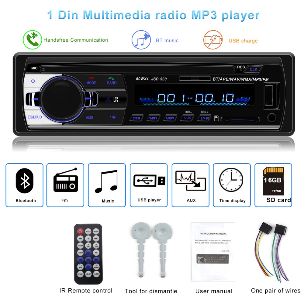 Autoradio JSD-520 auto Stereo 1 Din Car Radio 12v bluetooth V2.0 FM Aux Input Receiver Car Audio SD USB MP3 MMC WMA jsd 520