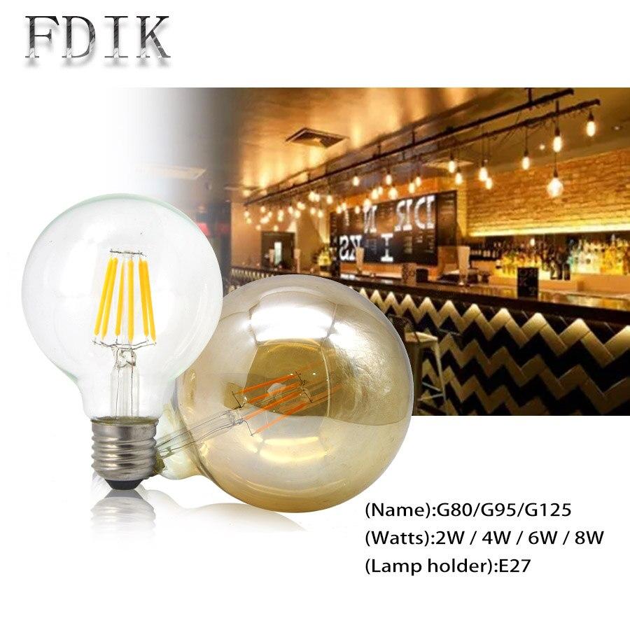 LED Bulb Edison G80 G95 G125 E27 Retro filament glass bulb lamp 2W 4W 6W 8W 110 220V Candle light Indoor Decoration Lighting