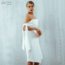 Adyce Women Dresses 2018 New Summer Arrival Casual One shoulder Tied Elegant Button Tassel Celebrity Party Dress Runway Vestidos