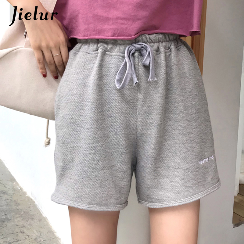 Jielur Female Shorts Embroidery High-Waist Summer Casual Women Letter Hipster Simple