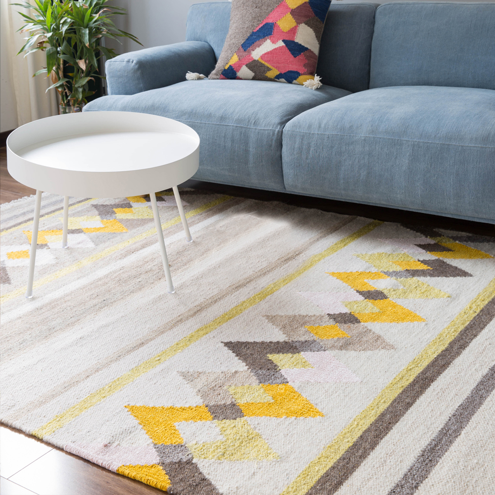 Tapis Style Kilim Us 1599 99 Collalily 100 Wool Kilim Carpet Geometric Bohemia Indian Rug Parlor Yellow Living Room Plaid Striped Modern Design Nordic Style In
