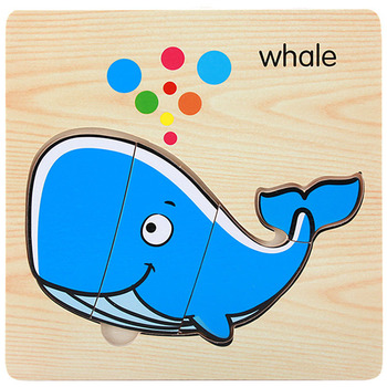 1Pcs Cartoon Wooden Animal and Transportation 3d Puzzle Jigsaw Wooden Toys For Intelligence Kids Baby Early Educational Toy 1