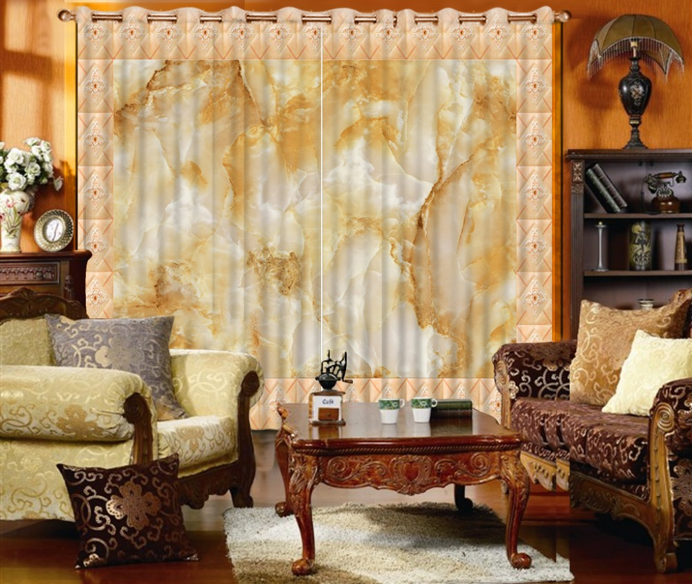 Home Decoration 3D Print Photo marble pattern Blackout Curtains ...