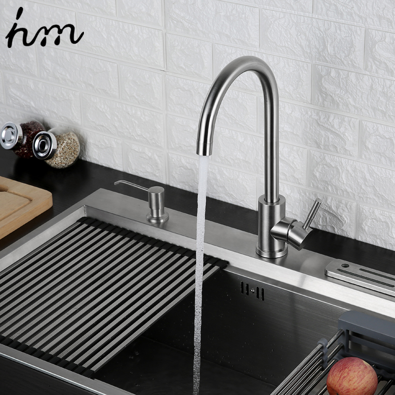 Image 4 - hm 360 Degree Cold and Hot Kitchen Tap Single Hole Water Tap SUS304 Stainless Steel Kitchen Faucets-in Kitchen Faucets from Home Improvement