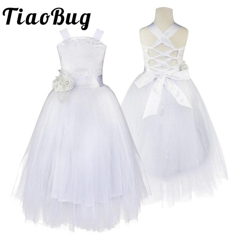 2-14 Ragazzini Ragazze Di Fiore Vestito Per Il Partito E La Cerimonia Nuziale Floreale Girl Dress Ball Gown Prom Crossed Torna Convenzionale Maxi Vestito