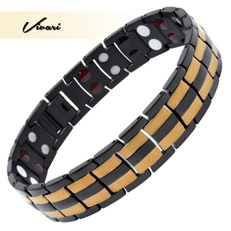 Vivari homme Pur Santé Bracelet Magnétique En Titane Pour Hommes Couleur Or 10 pièces Aimants D'ions Germanium Loin D'infar Bracelets Rouges
