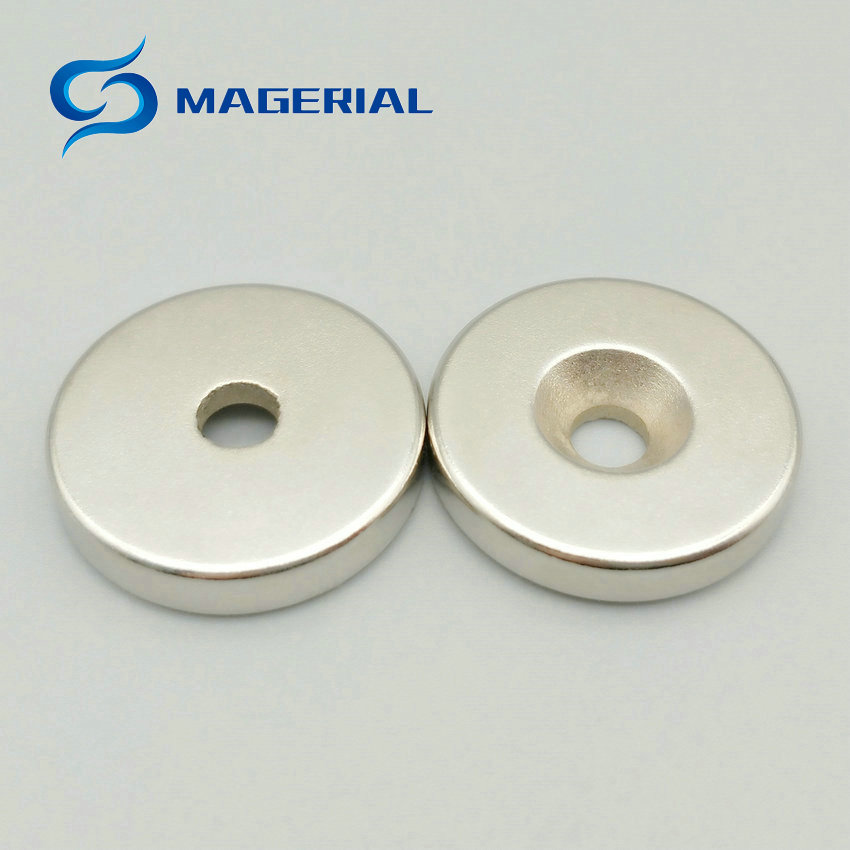 1 pack Grade N42 NdFeB Disc Countersunk Magnet OD 20x5 mm thick M4 screw Neodymium Rare Earth Permanent Magnet NiCuNi Plated ndfeb n42 magnet large disc od 100x10 mm with m10 countersunk hole 4 round strong neodymium permanent rare earth magnets