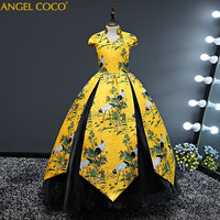 Royal Court Girl Dress For Wedding Baby Girl Birthday Outfits Children's Girls First Communion Dresses Girl Kids Party Wear