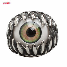 1Pcs Halloween Decoration Stainless Steel Ring Creative Hot Sale Punk Dragon Claw Blue Evil Eye Skull 5Z-HH043(China)