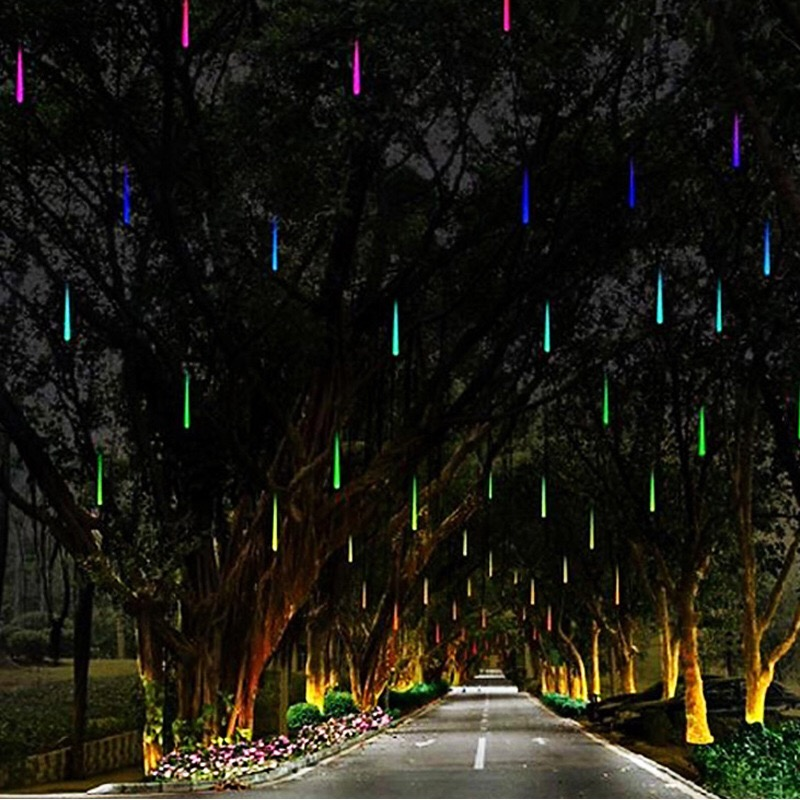 8Pcs/Pet Multi-color 30cm Meteor Shower Rain Tubes Ac 110-240v Christmas String Light Garden Wedding Party Holiday Tree Decor