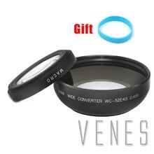 52mm 0.45x wide angle lens com suit macro para canon nikon pentax sony panasonic (preto) + com lente de pulso cinta