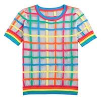 2019 Women T shirt Plaid Rainbow Super Thin Harajuku Shirt O Neck Short Sleeve Japanese Spring Summer Kawaii Mesh Top