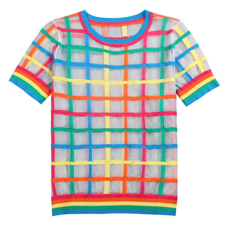 2019 femmes T-shirt Plaid arc-en-ciel Super mince Harajuku chemise o-cou à manches courtes japonais printemps été Kawaii haut en maille