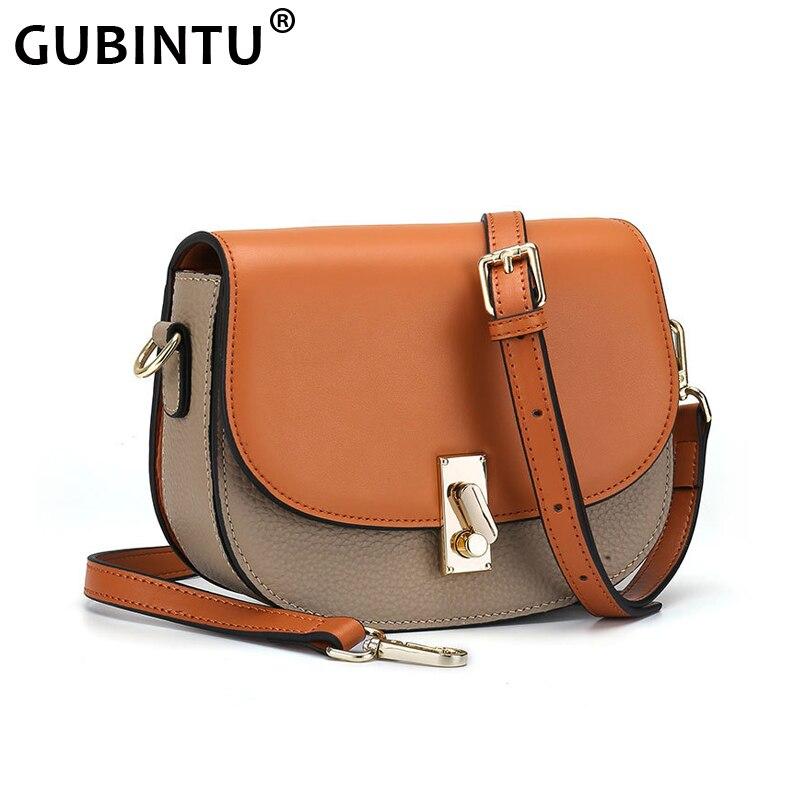 New Fashion Handbag Genuine Leather Shoulder Bag Women Messenger Bag 2 Shoulder Strap Simple Semi Circle Saddle Purse Female Bag