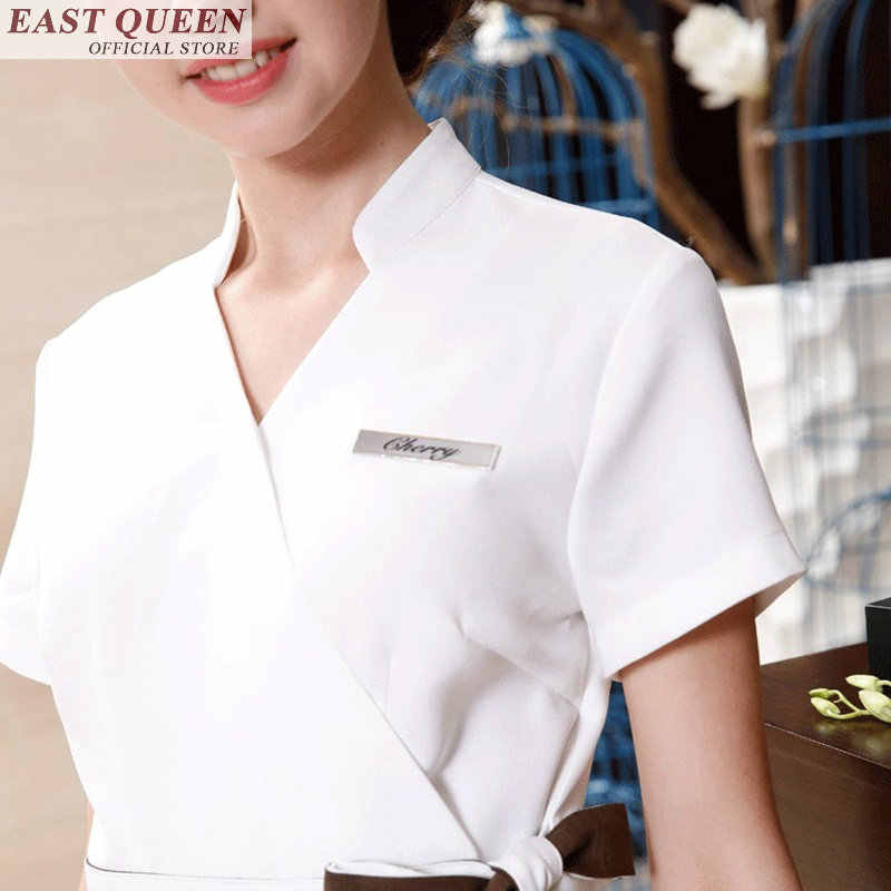 Spa üniforma resepsiyon güzellik uzmanı üniforma spa salon güzellik masaj üniforma kadın elbisesi elbise tıbbi aksesuarlar FF405 A