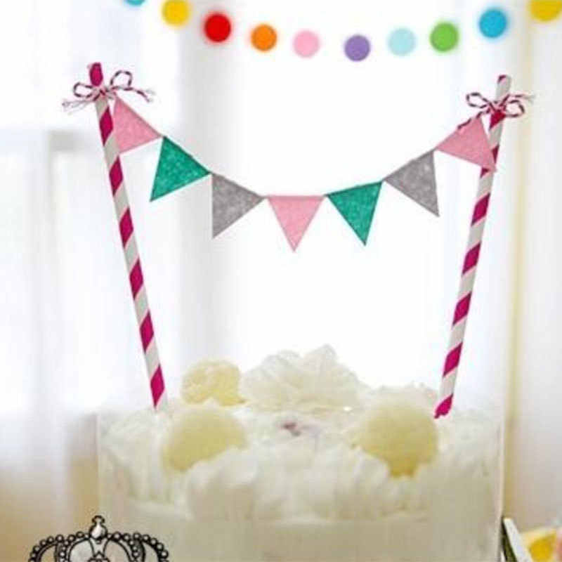 Household Happy Birthday Cake Insert Toothpick Cupcake Bunting Banner Flag Kids Baby Shower DIY Party Cake Topper Decoration