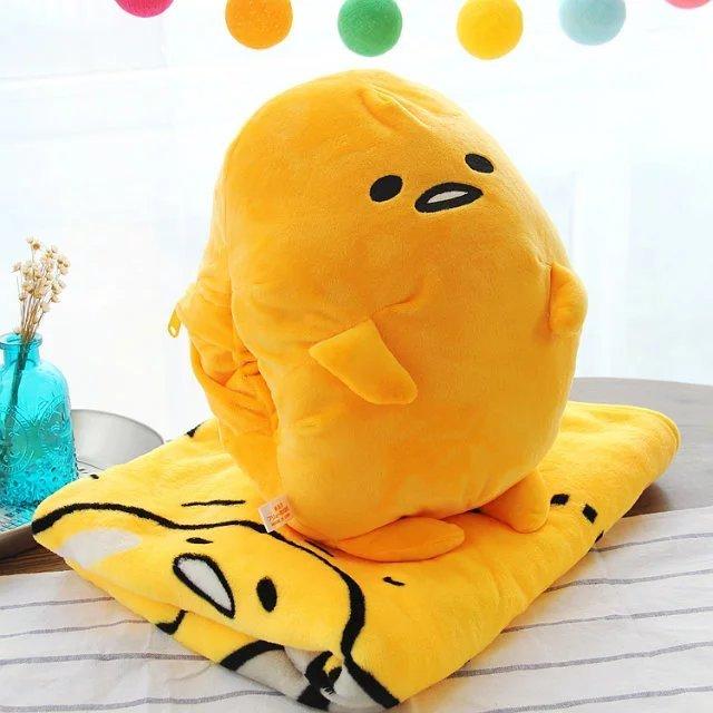 Felpa 1 unid 120 cm suave gudetama perezoso huevo resto oficina cojín + manta calentador de la mano de peluche de juguete de regalo romántico para el bebé
