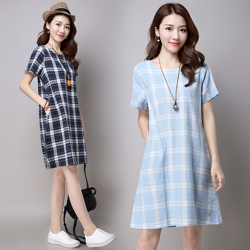 Plaid dress New Fashion Casual Short sleeved Summer dress Elegant Loose cotton and linen ...