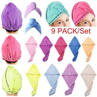 9 Pack Set Quick Dryer Hair Towel Wrap Turban Microfiber Drying Bath Shower Head Towel with Buttons Dry Hair Hat Wrapped#290850