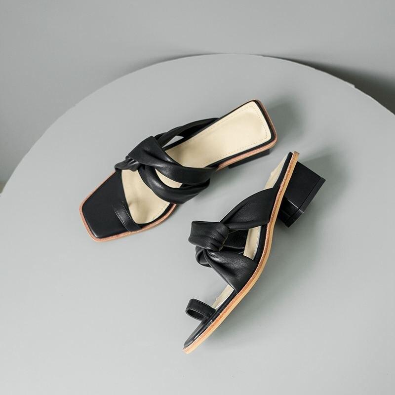 Krazing Pot nouveau été en cuir véritable peep toe solide med talons superstar flip flop élégant mode gladiateur sweety sandales l53-in Sandales femme from Chaussures    3