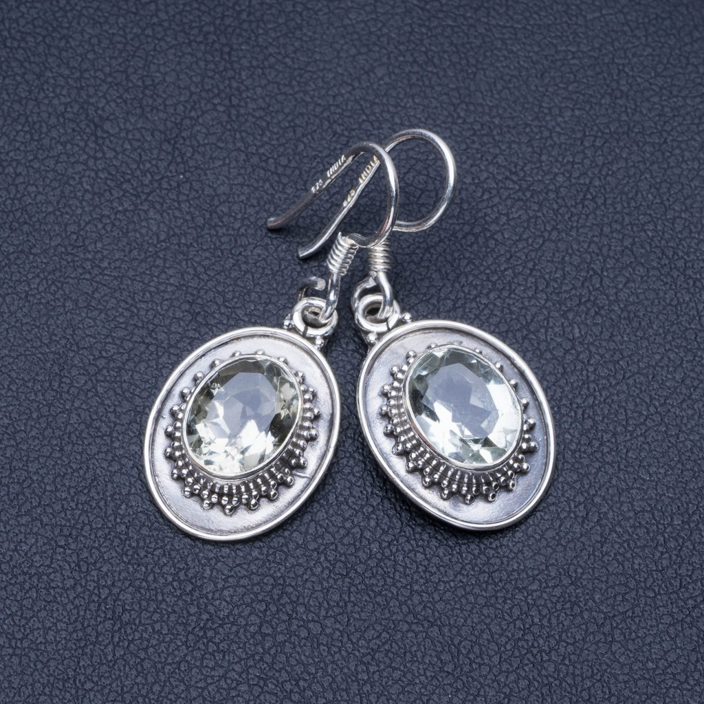 Natural Green Amethyst 925 Sterling Silver Earrings 1 1/4 Q1428Natural Green Amethyst 925 Sterling Silver Earrings 1 1/4 Q1428