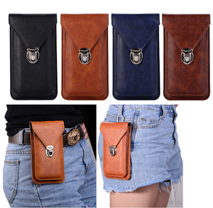 Universal 4.7~6.3'' Leather Phone Pouch Bags Hook Loop Belt Clip Case for Samsung Note 9 8 Wallet Bags for iPhoneX XR XS Max(China)