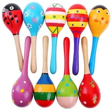 1pc Baby Kid Wooden Ball Toy Sand Hammer Rattle Musical Inst