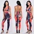 Мода sexy комбинезон 2016 новый женщин осень высокое качество Галстук-краситель печати рукавов тощий полная длина спинки bodycon комбинезон