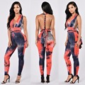 Fashion sexy jumpsuit 2016 new women autumn high quality Tie-dye print sleeveless skinny full length backless bodycon jumpsuit