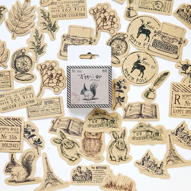 46 unids/lote Animal Vintage diario Kawaii ardilla búho planta diario decoración pegatinas Scrapbooking etiqueta para los niños