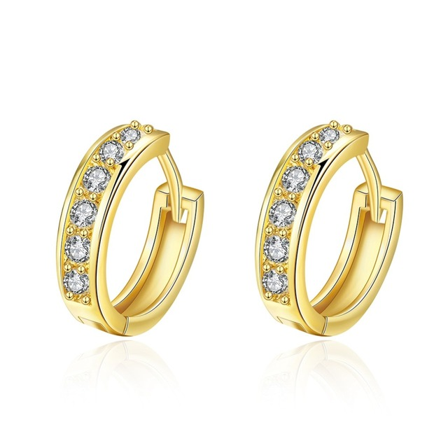 Gold color Earrings AAA Cubic Zirconia Small Hoop Earrings For Women