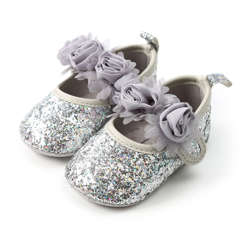 Infant Baby Girls Glitter Shimmer Sequins Flats Soft Sole Slip-On Non Slip Ballet Dance Faux Rose Flower Bow Toddler Crib Shoes