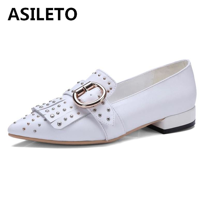 Asileto Rivets Talons Faible En De white Bout Mode Pointu Appartements Chaussures Cuir Femmes Boucle Sexy Nouveau Black Womana055 2018 À Naturel 8nYqrxwa8Z