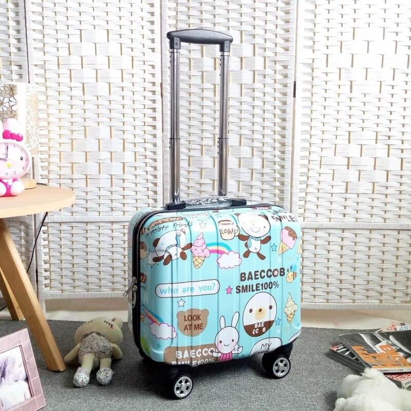 Valise de chariot de voyage de 18 pouces pour les femmes et les hommes sacs de voyage de chariot roues de Spinner bagage roulant d'étudiant embarquant des bagages de voyage-in Valises from Baggages et sacs    2