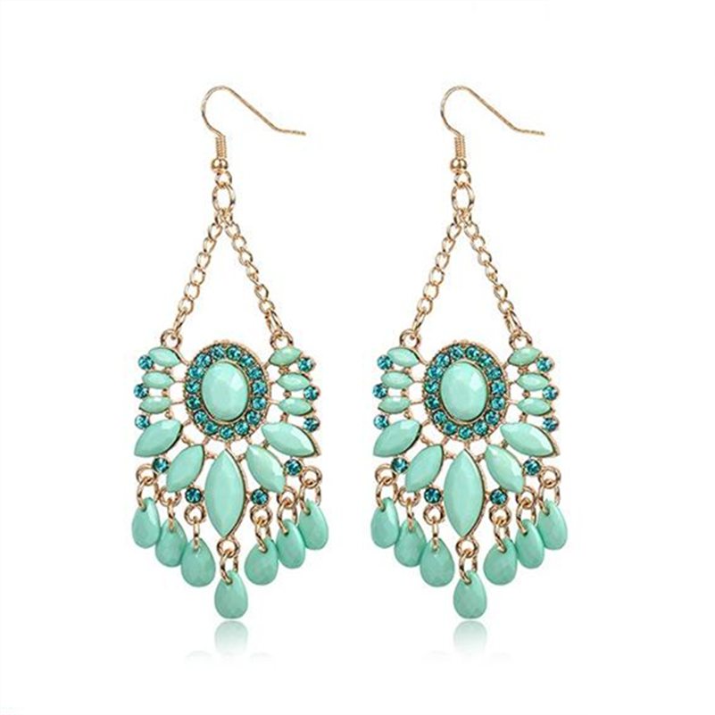 mint green acrylic crystal beads gold alloy charm vintage chandelier pendant charms drop dangle earring for women